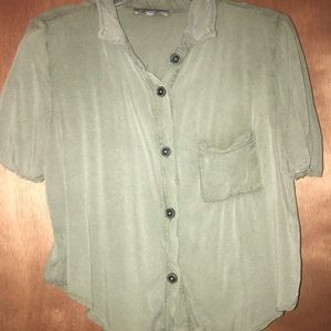 army green cropped button up